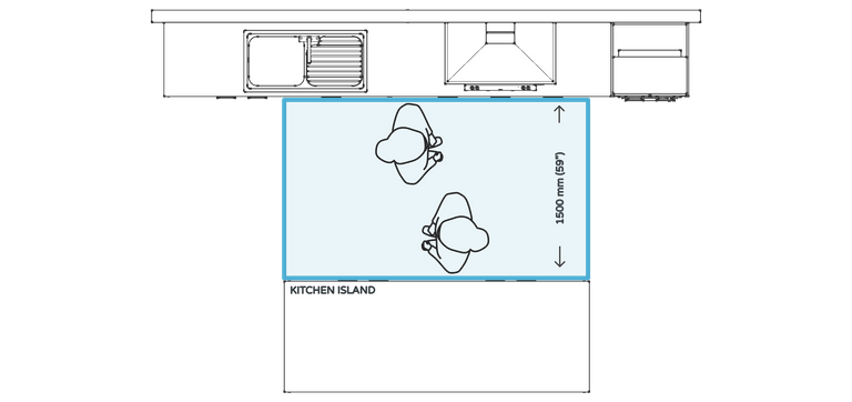 Kitchen design rule #8 - ideal distance from benchtop to island in a 2 cook kitchen